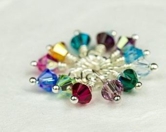 Set of 12 Birthstones, Swarovski Crystal Charms, Swarovski Birthstone Set, 4mm Crystal Dangles, Add on Birthstone Charms, Handmade