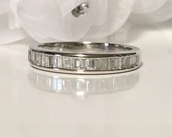 Baguette Wedding Band Low Profile Ring Woman Anniversary Ring White Gold Diamond Stacking Ring Promise Ring Push Gift Vow Renewal Gift Idea