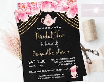 Bridal Tea Invite, Tea Party Invite, Printable Tea Party Invitation, Bridal Shower Invite,Watercolor Peony Invite, Chalkboard, jadorepaperie