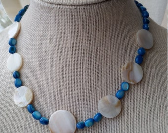 Blue and White Shell Necklace