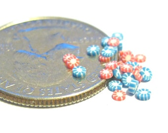 Tiny Red and Blue Peppermint Candies 30pcs