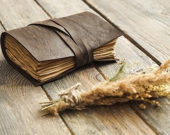 Leather notepad, leather journal, Leather diary, Travel journal, Vintage notepad, bullet planner, Sketchbook, vintage paper, handmade paper
