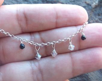 Anklet, Swarovski Crystal Anklet, Chain Anklet, Silver Chain Anklet, Anklet Jewelry, Crystal Anklet