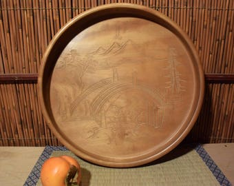 Vintage Japanese Round Wood Carved Lacquer Tray Landscape Scenery