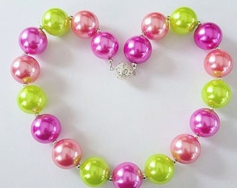 Chunky Bead Pearly Necklaces (purple/coral/lime)