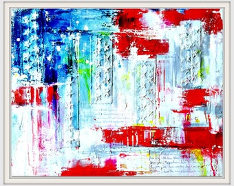 Americana Original Painting on Canvas, Textured Art, Abstract Fine Art, Red White and Blue, USA Flag, Collectable Fine Art