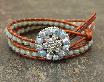 Leather and Rhinestone Bracelet One of a Kind Shabby Boho Chic Jewelry Unique Turquoise Leather Wrap Bracelet