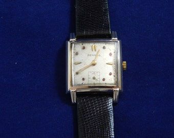 Vintage Benrus Wrist Watch 17 Jewels With Rubies 10 Kt Rolled Gold