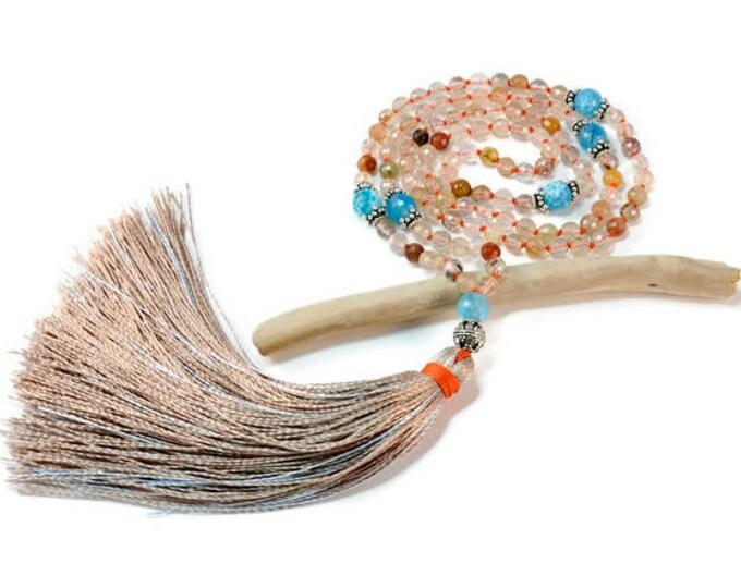 Rutile & Crack Agate Necklace Mala Boho Style. Yoga. Meditation. Ideas for her. Boho Jewelry. Bohemian Necklace. Tassel Necklace