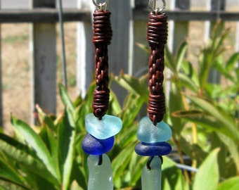 Puget Sound Genuine Sea Glass Leather Braided Earrings