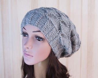Gray hand knit Womens hat Gray Winter Slouchy Beanie Women Hat Knitted beanie Hat