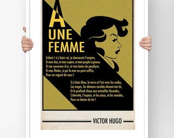 Literary Fine Art Print - Poster Typography Poetry Victor Hugo To a woman Poem Illustration Literary design