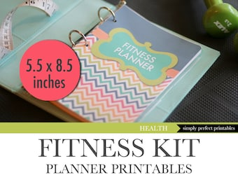 Fitness Planner - Weight Loss - Food Diary - Menu Planner - Workout Log - Printable Kit - Half Letter Size 5.5 x 8.5 inches