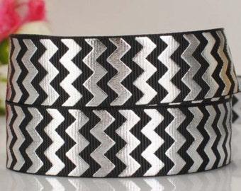 "7/8"" 22mm ZigZag-Chevron-Grosgrain Ribbon-by yard-Craft Supplies-Scrapbook-HairBow-Girl-Black Silver"