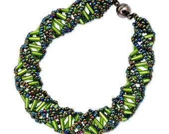 """DNA Green Beaded Bracelet - 9.5"""" Long"""