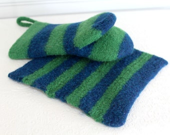 Green and Blue Wool Oven Mitt Set, Universal Fit Oven Mitt, Wool Oven Glove, Striped Wool Mitt, Hot Pad Set, Pot Holder Set, Hostess Gift