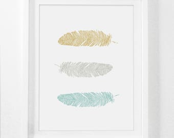 Printable Art, Wall Prints, Feather Print, Yellow Print Art, Mustard and Teal Wall Art, Feather Art Prints, Nursery Art, Digital Download