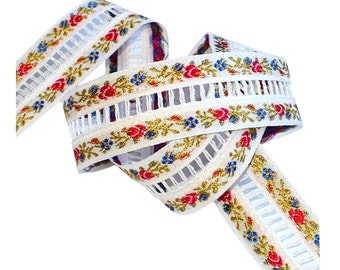 """1 1/2"""" Vintage 1960's Flowered Embroidered Ribbon, Insertion Trim, Vintage Sewing Supply"""