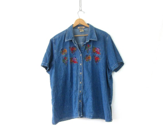 Short Sleeve Jean Top Denim Collared Oxford Button Up Casual Oversized Blue Jean Boho Shirt Floral Embroidery Womens Plus Size 22W 22W