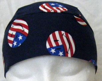 Blue Skull Cap with Red,White and Blue Smiley Faces, Chemo Cap, Hats, Biker, Handmade, Vets, Military, Do Rag, Head Wrap, Hair Loss, Bald