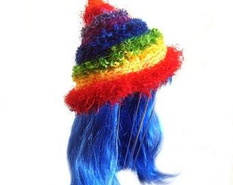 Winter Beanie Rainbow Gumnut Pixie Freeform Crochet Hat  Multi Colored