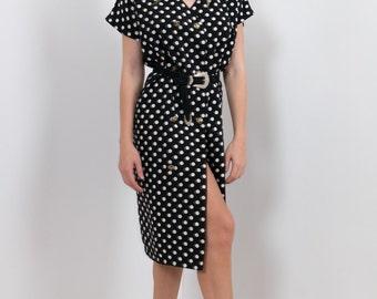 90s Shirt Dress Black Polkadot Spot Print