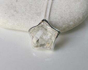 Star White Topaz Necklace- Statement Star Shape Necklace- Unique Gemstone Necklace- April Birthstone Necklace- Sterling Silver Necklace