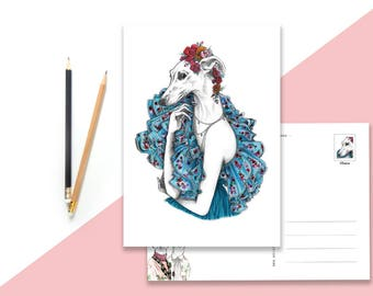 Card of pretty Geryhound with flower dress
