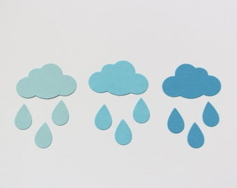 Blue raindrop confetti - baby shower spring table decor - party table confetti - rainy day die cut - Scrapbooking raindrop paper punch