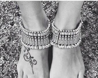 Istanbul ankle bracelet in silver / / / Bohemian gypsy ethnic boho