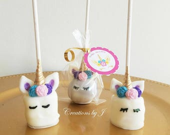 1 doz (12 treats) Rainbow Unicorn Marshmallow pops