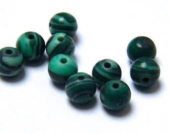 Set of 10 beads 4 mm emerald green natural malachite