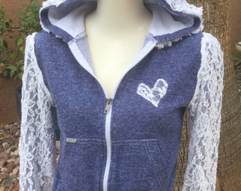 Blue repurposed hoodie with stretch lace details/OP/girls/size 8