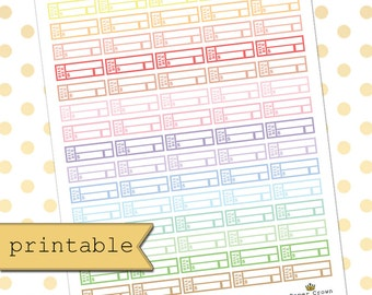 Printable Bill Due Planner Stickers for use with Erin Condren Life Planner/Happy Planner Stickers/Functional Stickers/Download/Horizontal