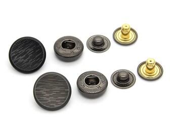 6 Pcs 0.59~0.67 Inches Retro Black/Matte Gun Irregular Stripe Concave Snap Fastener Metal Shank Buttons For Jackets Coats