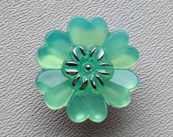 CZECH GLASS BUTTON: 22mm Sculptural Flower Handpainted Czech Glass Button, Pendant, Cabochon (1)