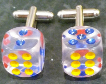 Double Six Lucky Dice Cufflinks - Clear