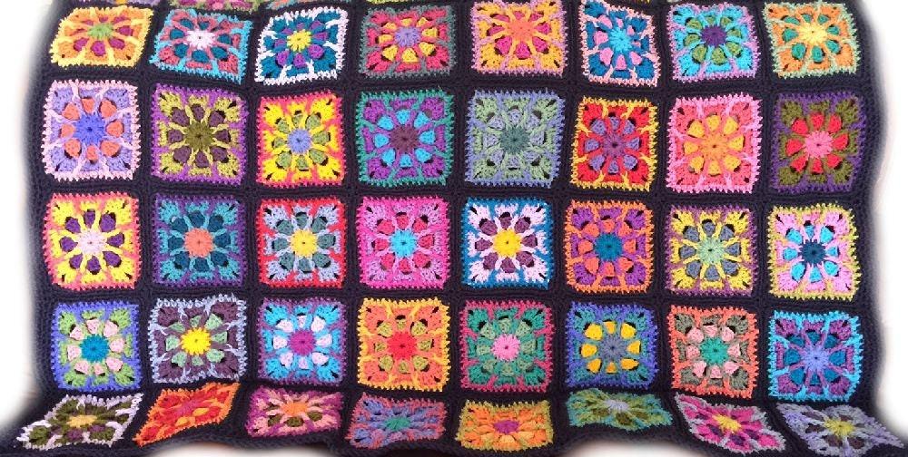 Funky Häkeln Oma Platz Afghanisch Muster Festooning - Decke Stricken ...