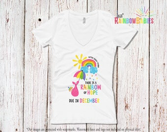 Due In DECEMBER Rainbow Pregnancy Shirt, Ladies Deep V-Neck Tee, After Every Storm There Is A Rainbow Of Hope Maternity T-Shirt