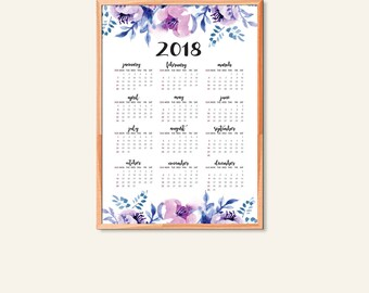2018 Wall Calendar | 2018 Watercolor Flowers Calendar| 50 x70 cm Calendar | Yearly Calendar | Large Printable Calendar