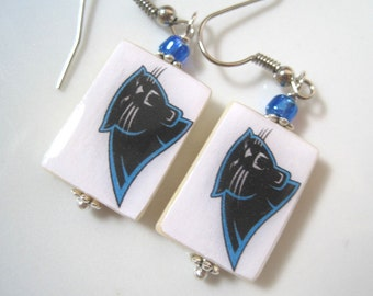 Carolina Panthers. Football. Mother of Pearl Shell Earrings.Handmade.