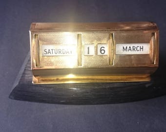 Vintage Gilt Perpetual Desk Calendar