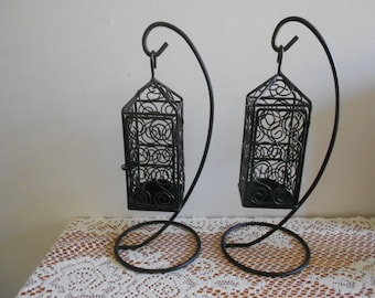REDUCED...Set of Black wrought iron tea light  holders, wedding centerpiece, home decor,hanging lanterns,free standing tea lights