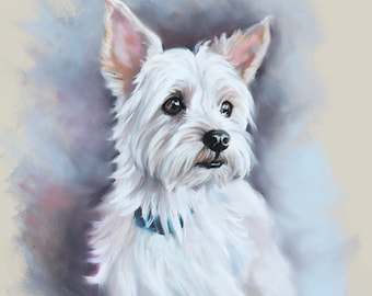 Custom Pastel Portrait Painting of Pet (Yorkshire) from photography