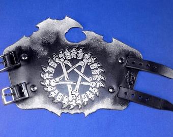 Leather Spinal Bones Pentagram Bracers