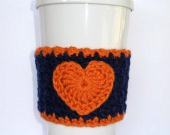 Crochet Heart Coffee Cup Cozy Dark Blue and Orange