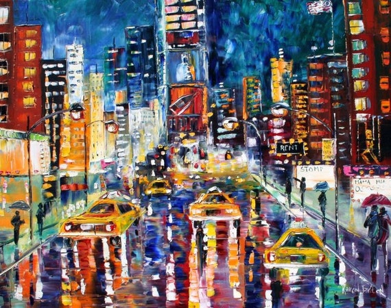 Original oil painting custom commission times square palette for Craft fair nyc 2017
