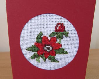 Cross Stitch card red flower