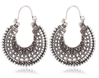 Tribal Oxidised Silver Hooped Earrings