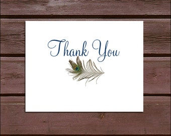 100 Peacock Feathers Wedding Thank You Notes